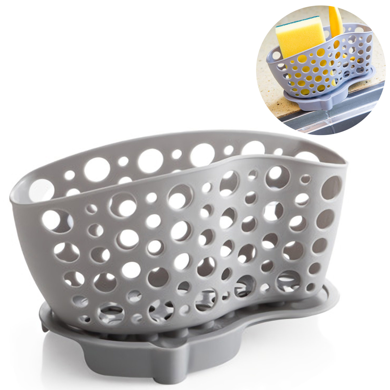 Kitchen Sink Caddy Organizer Sponge Holder Soap Holder Saddle Faucet Caddy (Random Color)