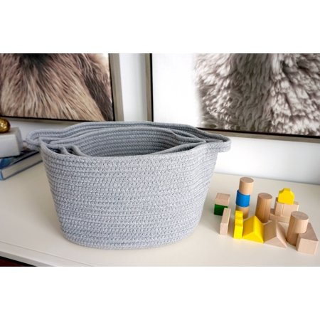 Handcrafted 4 Home Woven Fabric Nesting Baskets, Grey (Set of 3)