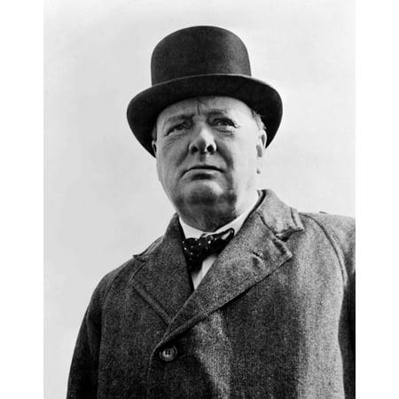 Digitally restored vector portrait of Sir Winston Churchill Canvas Art - John ParrotStocktrek Images (13 x 16)