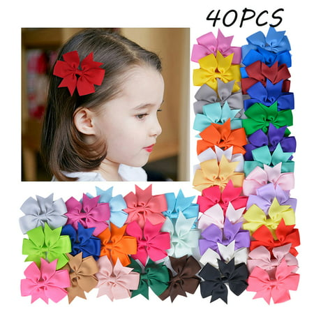 40 PCS Baby Girls Ribbon Hair Bows Clips Multicolor Hairpin Hair Barrettes Hair Accessories For Kids Teens Toddlers