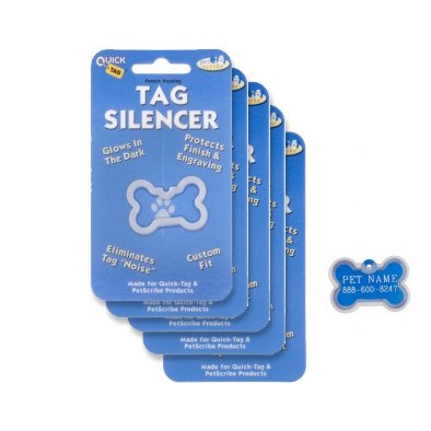 Quick-Tags Dog ID Tag Silencers, Large Bone Shaped, 5 Piece, Silence & protect your pet's tag By Quick Tags From USA (Shaped Dog Tag)