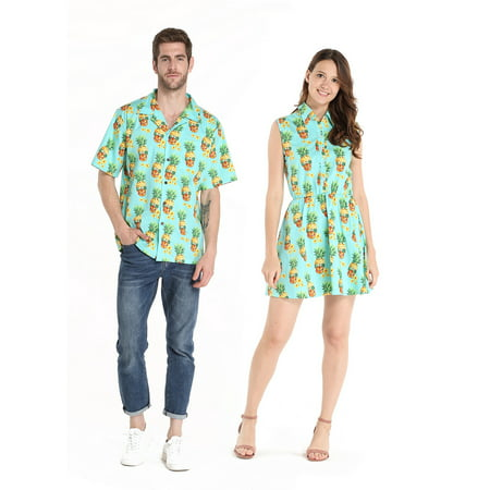 Couple Matching Hawaiian Luau Cruise Outfit Shirt Dress Halloween Pineapple Skull Men M Women S