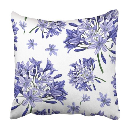CMFUN Colorful Autumn Blue Agapanthus Flower Pattern This Surfaces Green Beautiful Beauty Pillowcase 16x16 inch
