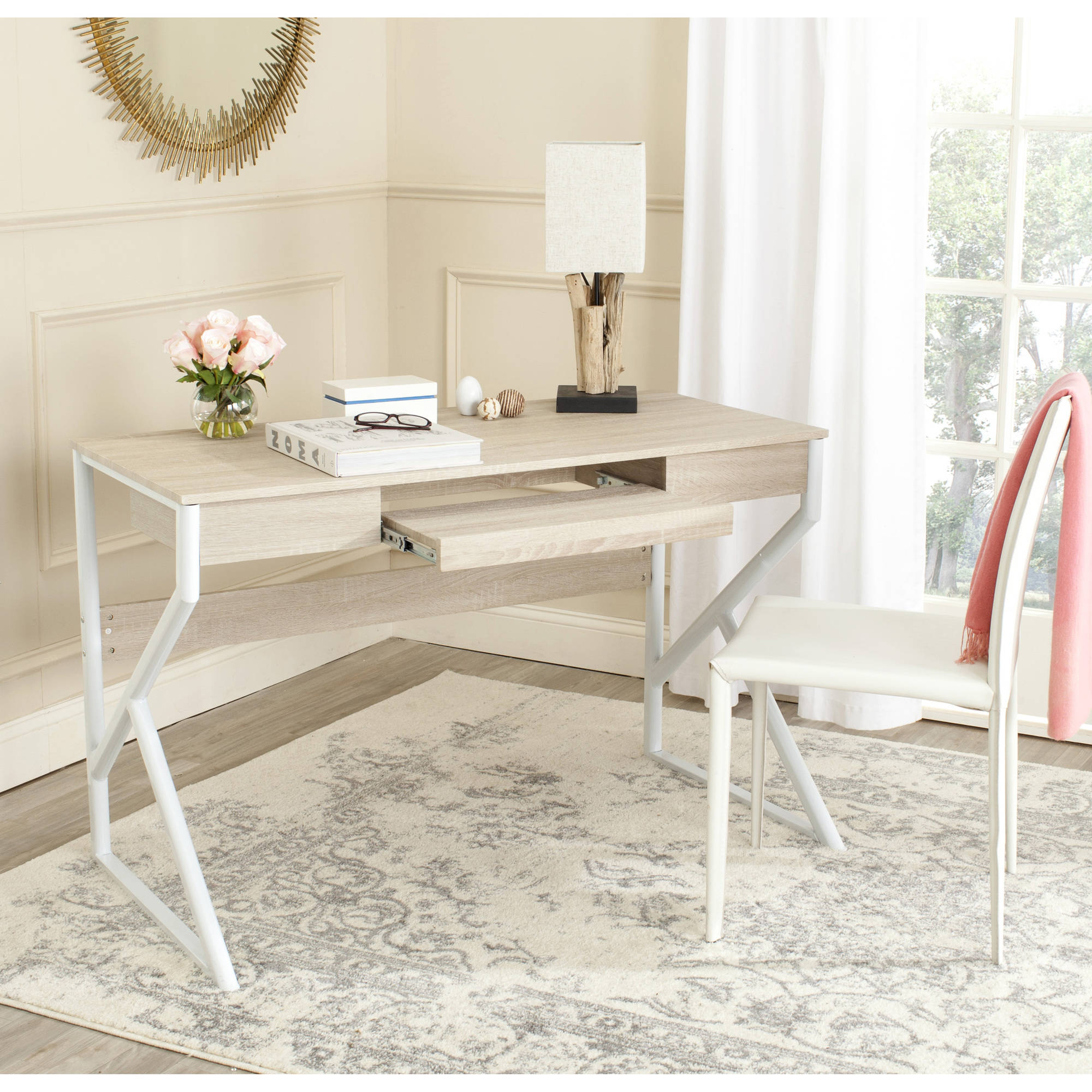Safavieh Bryany Computer Desk, Natural Top/White Legs