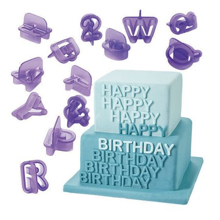40Pcs Alphabet Number Character Cookie Cutters Fondant Cake Biscuit Baking Mould ()