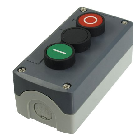 240V 3A SPST Momentary Green Black Red Flat Push Button Switch Station Box - image 1 of 1