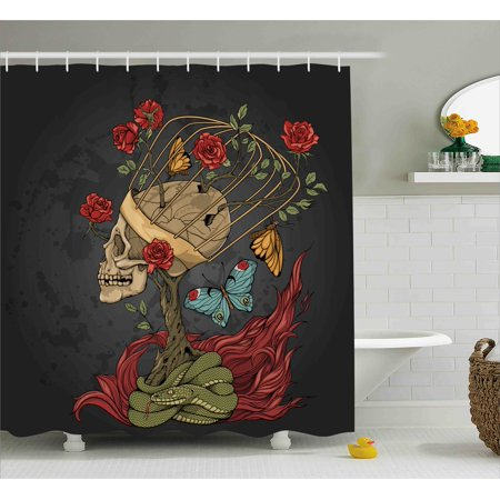 Mexican Bush - Skull Shower Curtain, Evil Mexican Sugar Skeleton with Kitsch Bush of Roses Snake and Butterfly Artwork, Fabric Bathroom Set with Hooks, Ruby Dark Grey, by Ambesonne