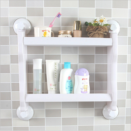 Shower Storage Shelf,YMIKO Bathroom Kitchen Double Tiers Strong Suction Cup Rack Wall Mount Storage Shelf Organizer