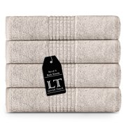 Lavish Touch 700 GSM 100% Egyptian Cotton 4 Pack Bath Towels Set 27x54, Premium Hotel Spa Quality Towel Sets for Bathroom, Ultra Soft Highly Absorbent Machine Washable, 4 Bath Towels - Beige