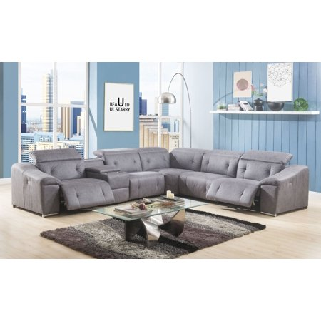 Acme Hosta Reclining Sectional Sofa With Usb Charging Dock In Gray Polished Microfiber