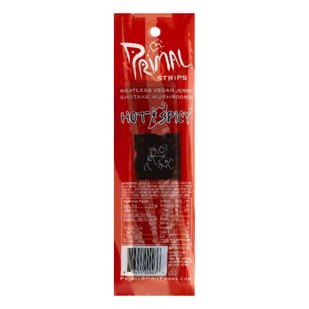 Primal Hot & Spicy Shiitake Mushrooms Vegan Meatless Jerky Strips, 1 OZ (Pack of 24) - Meatless Vegan Jerky