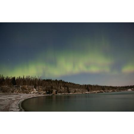 Northern Lights Aurora Borealis Over Lake Superior Thunder Bay Ontario Canada Canvas Art   Susan Dykstra  Design Pics  38 X 24
