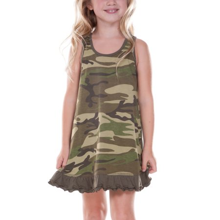 Kavio! Little Girls 3-6X Camouflage A-Line Tank Dress Camo Army Green 3