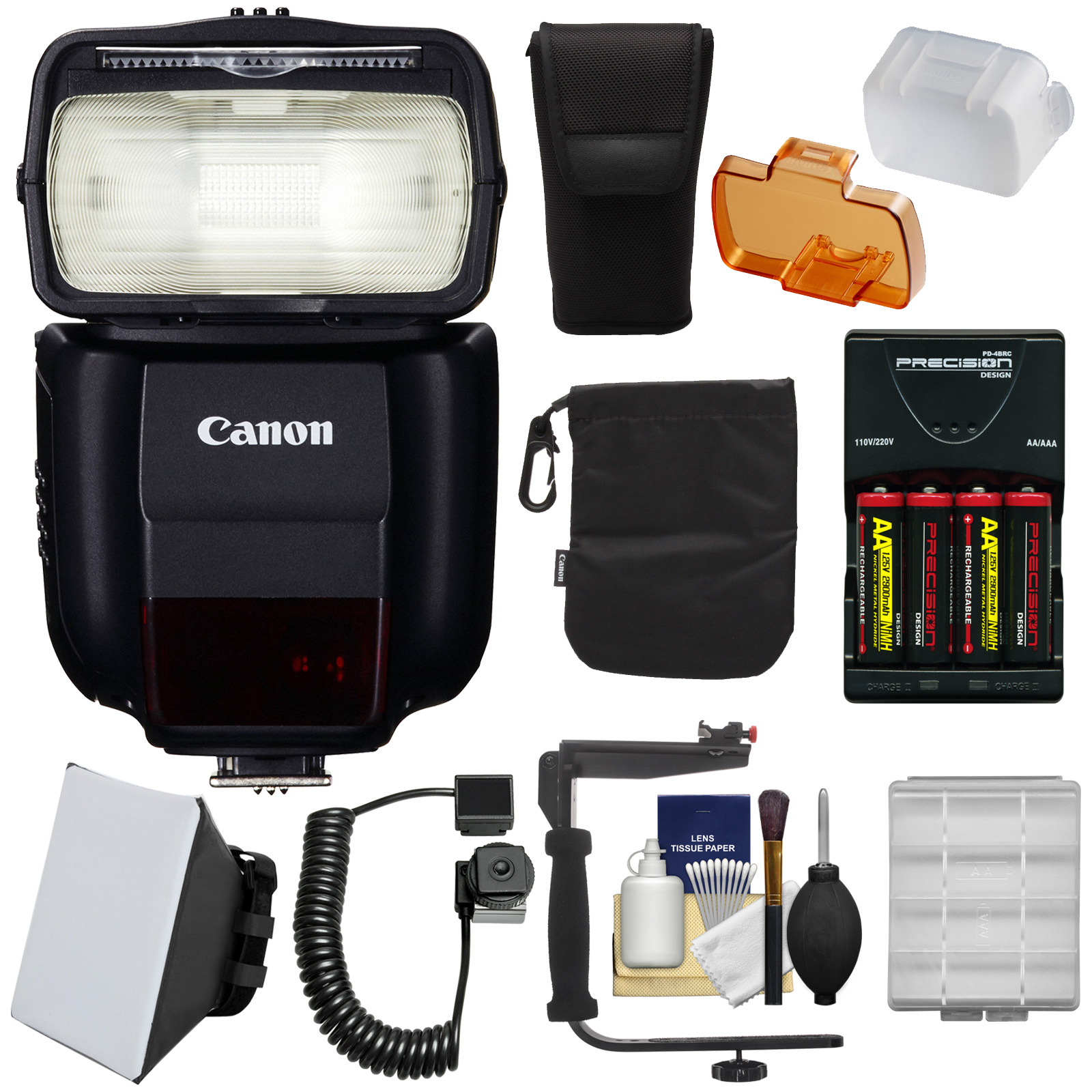 Canon Speedlite 430EX III-RT Flash with Bracket & Cord + ...