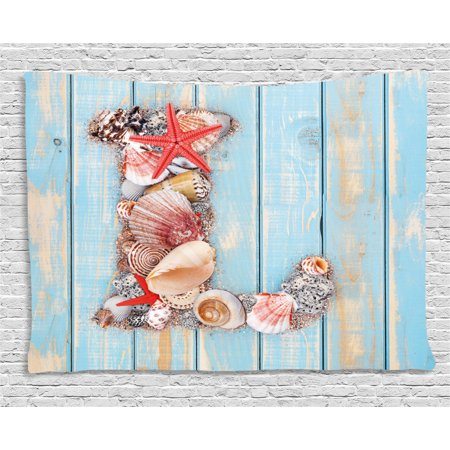 Letter L Tapestry, Ocean Inspired Theme Alphabet Design Letter L with Marine Elements, Wall Hanging for Bedroom Living Room Dorm Decor, 60W X 40L Inches, Pale Blue Ivory Dark Coral, by Ambesonne ()
