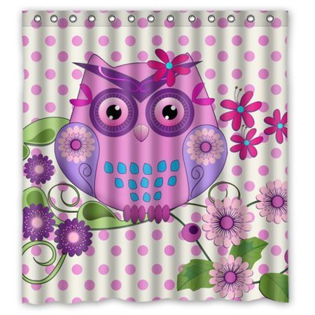 GreenDecor Spring Owl Flowers And Polka Dots Waterproof Shower Curtain Set with Hooks Bathroom Accessories Size 60x72 inches
