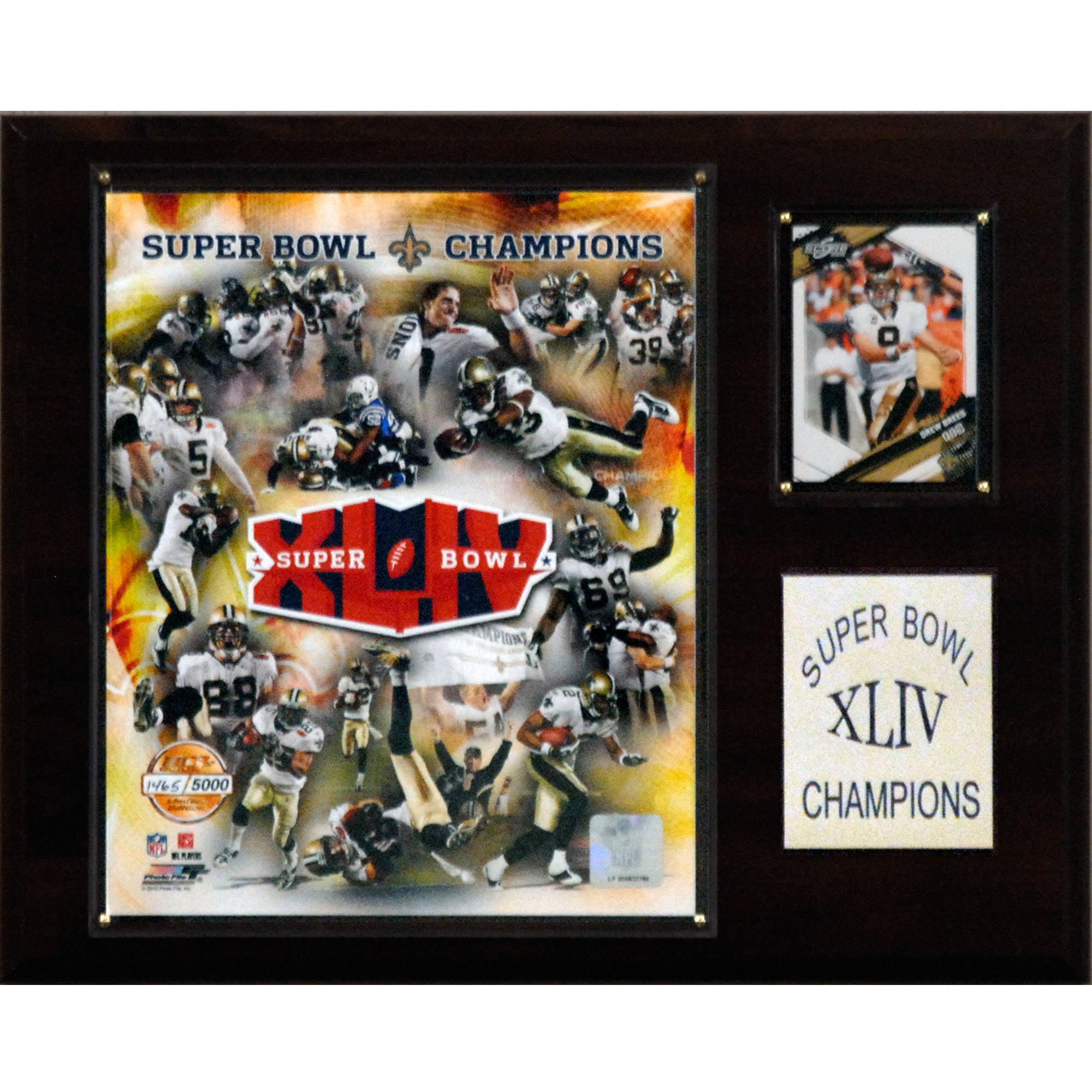 C&I Collectables NFL 12x15 New Orleans Saints Super Bowl XLIV Champions Plaque, Gold Edition