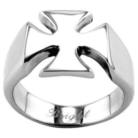 Men's Shiny Stainless Steel Biker Iron Cross Ring - Sizes 9-15 Father's Day Gift