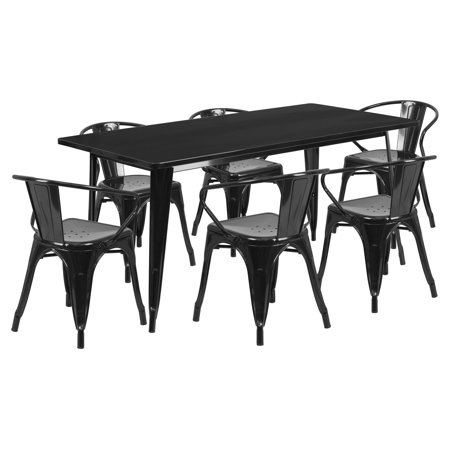 Agm Metal - Flash Furniture 31.5'' x 63'' Rectangular Metal Indoor-Outdoor Table Set with 6 Arm Chairs Multiple Colors