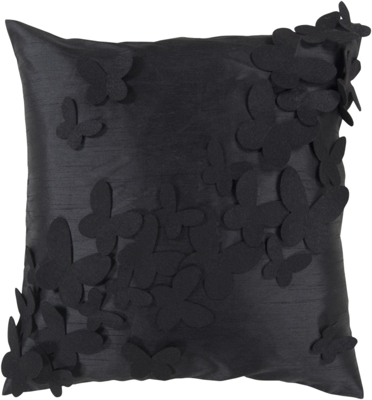 "22"" Caviar and Jet Black Dimensional Butterflies Decorative Throw Pillow"
