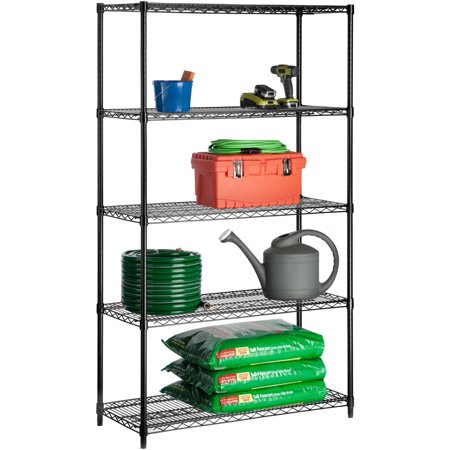 Honey Can Do Urban Shelving 5-Tier Adjustable Storage Shelving Unit 72″, Black