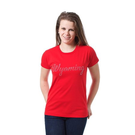 JH Design Women's Wyoming Souvenir Style Novelty T-Shirt with Decorative Rhinestone