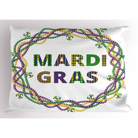 Mardi Gras Pillow Sham Vivid Beads Circular Frame with Lettering ...