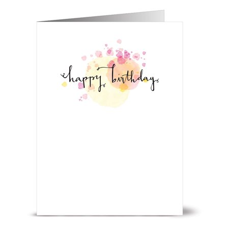 24 Note Cards - Yellow Watercolor Script Happy Birthday - Blank Cards - Kraft Envelopes Included](Happy Birthday Cars)