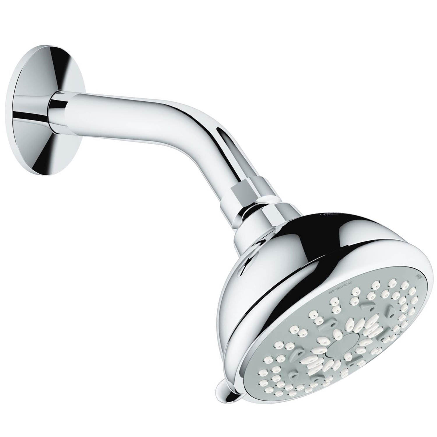 Grohe Bau 27614000 3 Function StarLight Bathroom Shower Head with Arm, Chrome