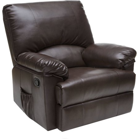 Relaxzen 23-7000MWM Rocker Recliner with Heat and Massage, Brown Marbled Leather