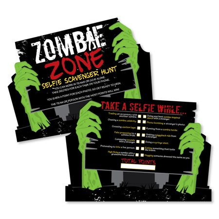 Zombie Zone - Selfie Scavenger Hunt - Halloween or Birthday Zombie Crawl Party Game - Set of 12 - Charlie Brown Halloween Birthday Party