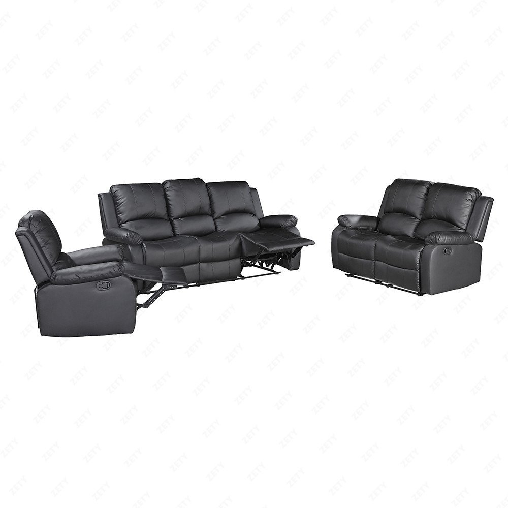 Mecor 3-Piece Bonded Leather Recliner Sofa Set Loveseat Chair Living Room Furniture Set Black by