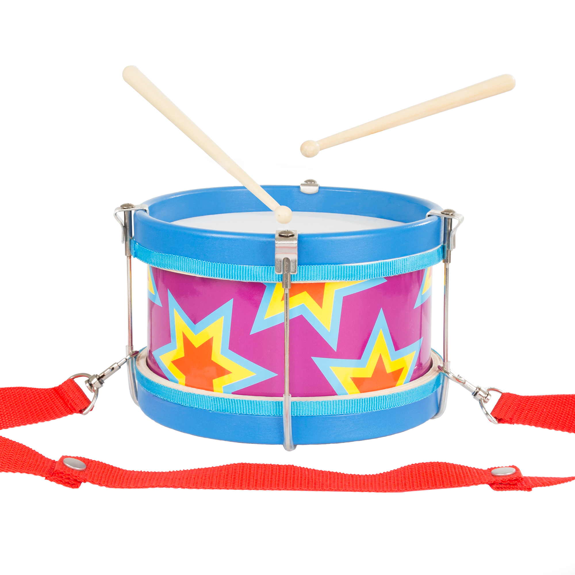Children's Toy Snare Marching Drum, Double-Sided with Adjustable Neck Strap and Two Wood Drum Sticks- Music Fun for Kids, Toddlers by Hey! Play!
