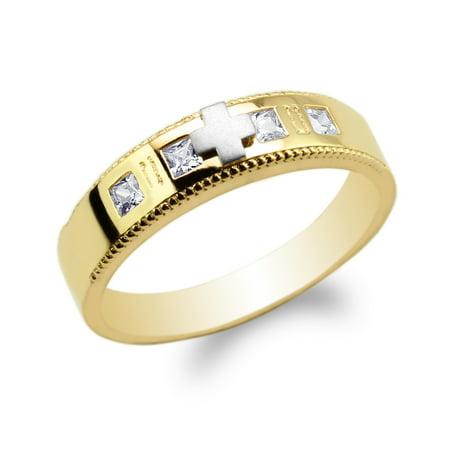 Womens 10K Yellow Gold Two Tone Princess CZ Embedded Cross Wedding Ring Size -