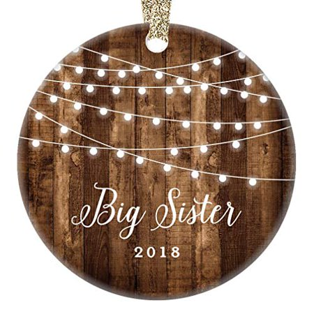 Gifts for Big Sister 2018, First Year as Big Sister Christmas Ornament, Rustic New Baby In Family Daughter Xmas Farmhouse Present 3