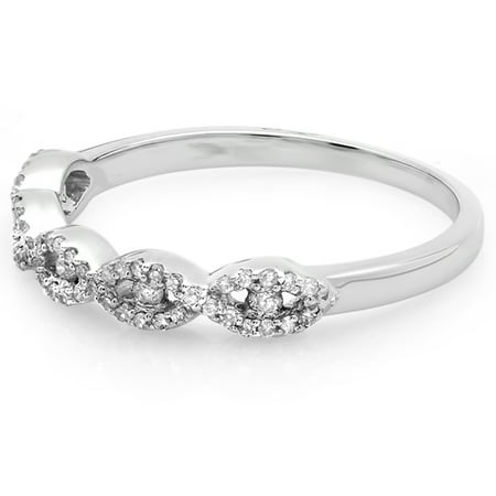 Dazzlingrock Collection 0.25 Carat (ctw) 10K Round Diamond Ladies Stackable Wedding Swirl Band 1/4 CT, White Gold, Size 7