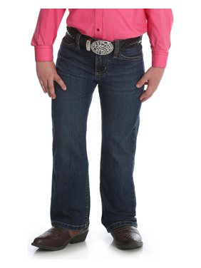 wrangler girls western boot cut jean, medium blue, 6 reg