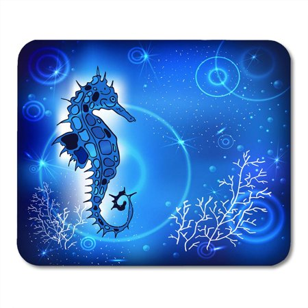 SIDONKU Blue Abstract Painting Sea Horse of Fish in The Depths and Air Bubbles Tattoo Cartoon Doodle Mousepad Mouse Pad Mouse Mat 9x10 inch - Tattoos Of Fish