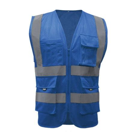 GOGO 9 Pockets High Visibility Zipper Front Safety Vest With Reflectiv