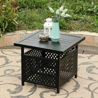 "MF Studio Patio Umbrella Side Table 22""x22"" Square Bistro Table for Outdoor Garden Pool with 1.57 Umbrella Hole"