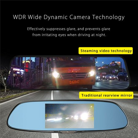 10'' Touch Screen 1080P Dual Camera Rearview Mirror Recorder Car DVR Camcorde - image 4 of 10