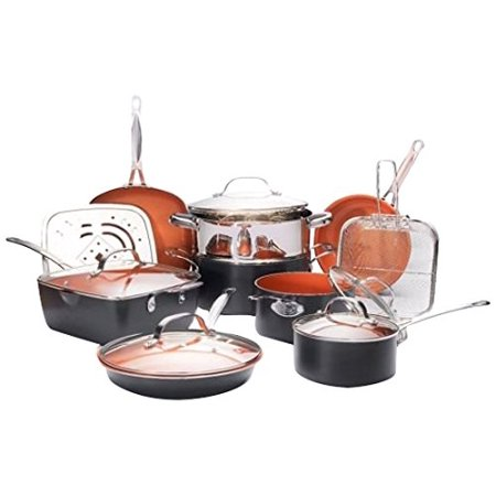 Gotham Steel 15 Piece Pan Set Nonstick Copper Cookware