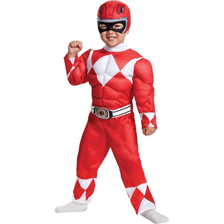 Toddler Mighty Morphin Power Ranger Red Ranger Muscle Jumpsuit Halloween Costume - Mighty Morphin Power Rangers Costumes For Adults