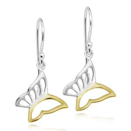 - Stylish Two-Tone Gold Vermeil & Sterling Silver Butterfly Dangle Earrings