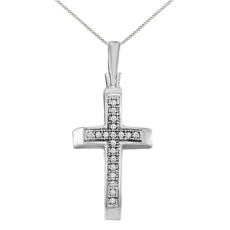 Round Cut White Natural Diamond Cross Pendant Necklace 14K White Gold Over Sterling Silver