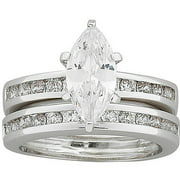 4 Carat T.G.W. Marquis CZ Wedding Set in Sterling Silver