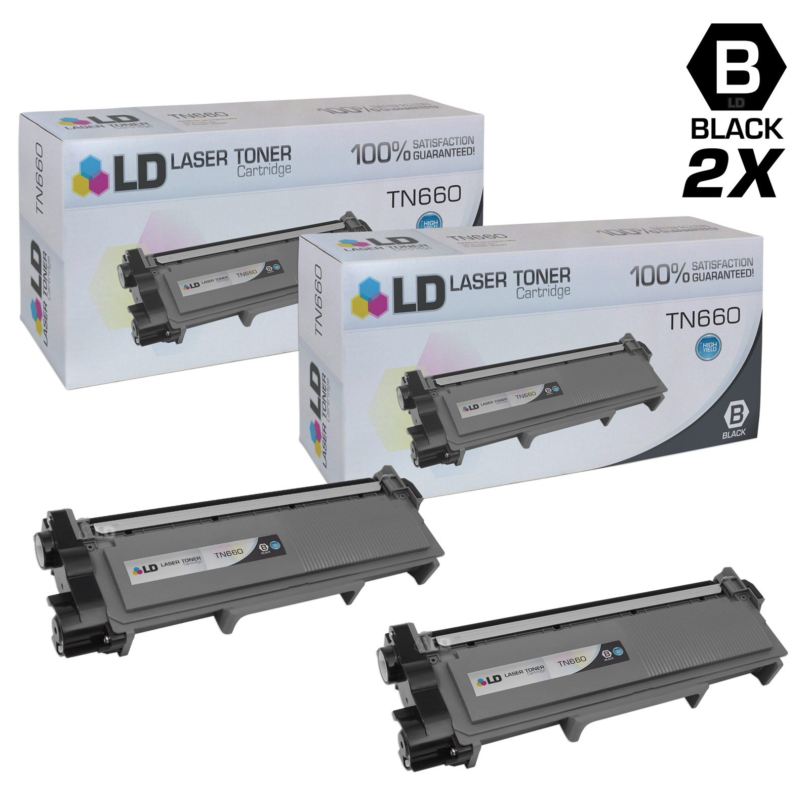 LD Compatible Brother TN660 Set of 2 HY Black Toner Cartridges for DCP-L2520DW, DCP-L2540DW, HL-L2300D, HL-L2305W, HL-L2320D, HL-L2340DW, HL-L2360DW & MFC-L2680W, MFC-L2685DW, MFC-L2740DW