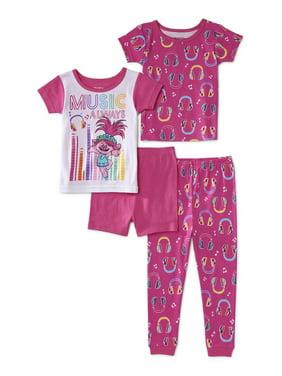 Trolls Toddler Girl Short Sleeve Snug Fit Cotton Pajamas, 4pc Set