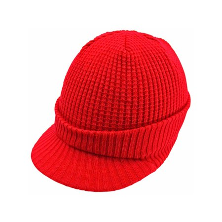 Thermal Ribbed Knit Visor Beanie Cap Hat