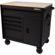 ProWorks 36-Inch W x 24.5-Inch D 5-Drawer 1-Door Mobile Tool Chest Workbench with Solid Wood Top
